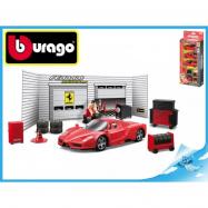 Bburago Race & Play Ferrari - Sada pneuservis s 3ks Ferrari model 1:43