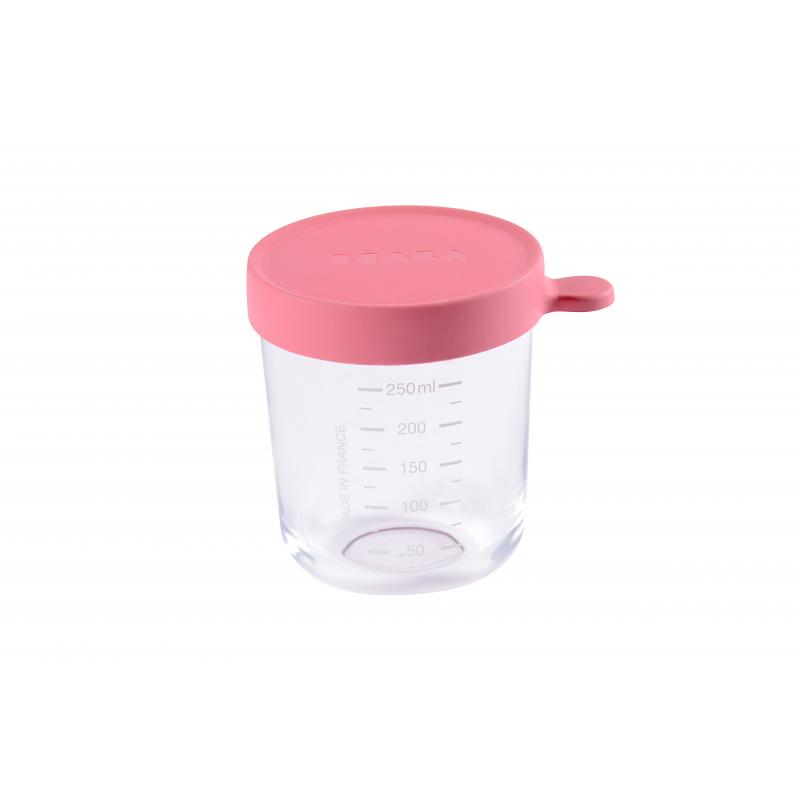 Téglik na jedlo sklenený 250ml tmavo ružový