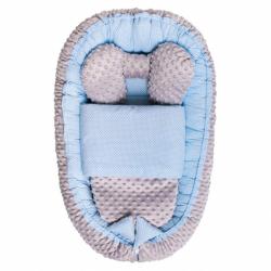 Hnízdečko s peřinkou pro miminko Minky Sweet Baby Belisima modré