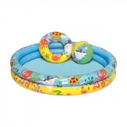 Nafukovací SET - bazén 112cm, plávacie koleso 51cm, lopta 41 x 15 cm