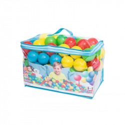 100 plastových farebných loptičiek v taške - priemer 6,5 cm