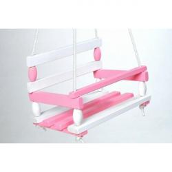 Teddies huśtawka drewniana 38 x 30 cm – biało-różowa