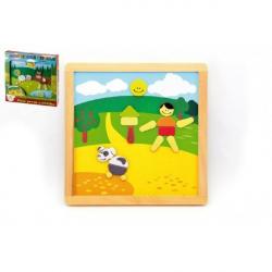 Magnetické puzzle dřevěné Moje první zvířátka 57 dílků oboustranná tabulka 25x25 cm