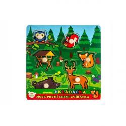 Vkládačka dřevěná Moje první zvířátka lesní 6 ks 22,5x22,5x2,5 cm 12m+