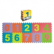 Penové puzzle čísla 0-9 podložka 25x25x1cm 10ks v sáčku