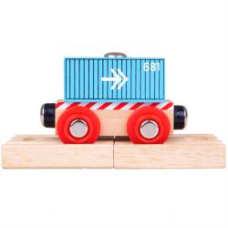 Bigjigs Rail Vagón modrý kontejner