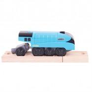Bigjigs Rail elektrická lokomotíva modrá Mallard