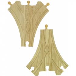 Dřevěné koleje vláčkodráhy Bigjigs - Třícestná výhybka - 2ks
