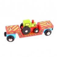 Vláček Bigjigs - Vagon s traktorem + 2 koleje