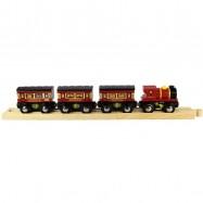 Dřevěná vláčkodráha Bigjigs - Dálkový vlak + 3 koleje