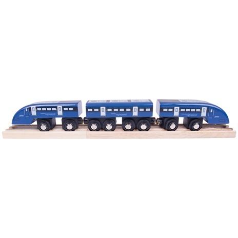 Dřevěné vláčkodráhy Bigjigs - Rychlík High Speed 1 modrý