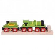 Bigjigs Rail - Zelená lokomotiva s tendrem + 3 koleje