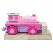 Bigjigs elektrická lokomotiva - Mašinka na baterky růžová