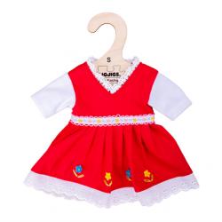 Bigjigs Toys Červené kvetinové šaty pre bábiku 28 cm