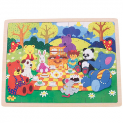 Bigjigs Toys drevené puzzle piknik v parku 35 dielikov