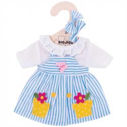 Bigjigs Toys modré pruhované šaty pre bábiku 25 cm
