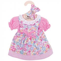 Bigjigs Toys ružové kvetinové šaty pre bábiku 35 cm