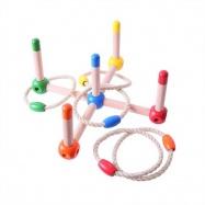 Bigjigs Toys dřevěné hry - Barevné házení kroužků