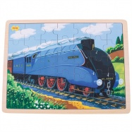 Bigjigs Toys dřevěné puzzle historický vlak Mallard 35 dílků