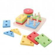 Dřevěná motorická hračka - Nasazování tvarů na tyče