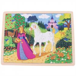 Bigjigs Toys drevené puzzle princezná 35 dielikov