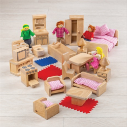 Bigjigs Toys Sada nábytku do domčeka a postavičiek rodiny