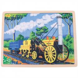 Bigjigs Toys drevené puzzle historický vlak Rocket 35 dielikov