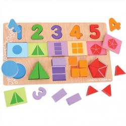 Bigjigs - Veľká doska s vkladaním - Čísla, farby, tvary
