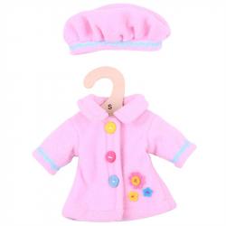 Bigjigs Toys ružový kabátik s čiapočkou pre bábiku 25 cm