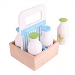 Bigjigs Toys drevené mlieko v prenosnej krabičke