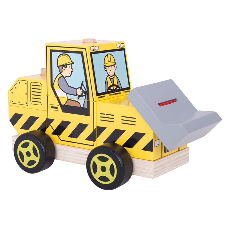 Bigjigs Toys drevené hračky - Nasadzovanie buldozér