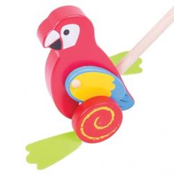 Bigjigs Toys Drevený Jezdík Papagáj