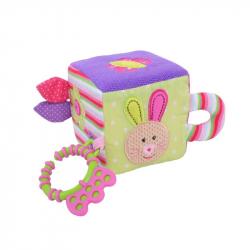Bigjigs textilná motorická kocka - Králíček Bella
