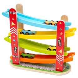 Bigjigs Toys Dřevěná automobilová závodní dráha
