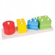 Bigjigs Toys drevená motorická triediace doska tvary farby tyče