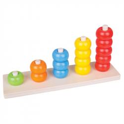 Bigjigs Toys drevená motorická doska nasadzovanie korálky