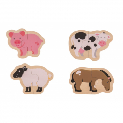 Bigjigs Toys Easy puzzle - Zvieratká z farmy