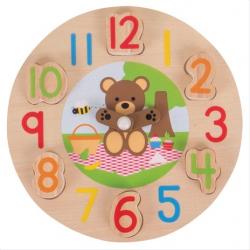 Bigjigs Toys edukatívne hodiny medvedík