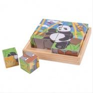 Bigjigs Toys obrázkové kocky divoká zvieratka