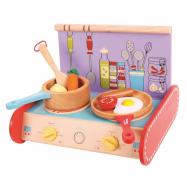 Bigjigs Toys Drevený sporák s vybavením