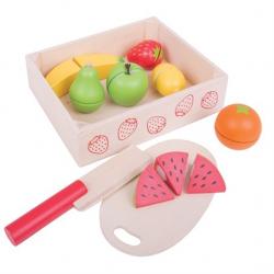 Bigjigs Toys drevené potraviny - Krájanie ovocie v krabičke