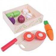 Bigjigs Toys drevené potraviny - Krájanie zeleniny v krabičke