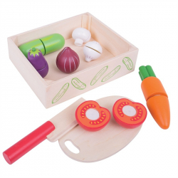 Bigjigs Drewniane warzywa do krojenia w pudełku