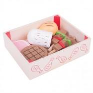 Bigjigs Drewniane produkty mięsne w pudełku