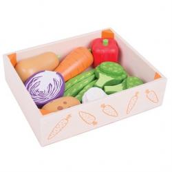 Bigjigs Toys Dřevěné hračky - Krabička se zeleninou