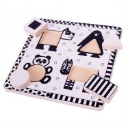 Bigjigs zabawki zwierzęta czarno-biały Puzzle