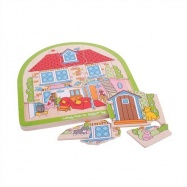Bigjigs Toys dřevěné vícevrstvé puzzle  - Dům
