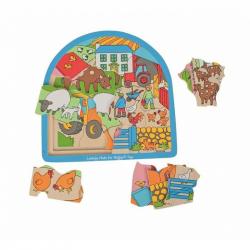 Bigjigs drevené viacvrstvové puzzle Farma