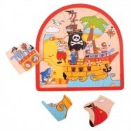 Bigjigs dřevěné vícevrstvé puzzle - Pirátská loď