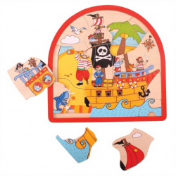 Bigjigs drevené viacvrstvové puzzle - Pirátska loď